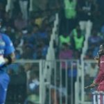 Kesrick Williams made this gesture after dismissing Virat Kohli
